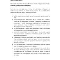 Transcripción de la charla impartida por el prof. Fernando Morales en la reunión de la comisión de bosques: Proyectos ambientales.